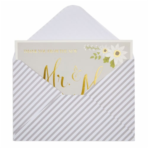 Wedding Thank You Cards with Striped Envelopes, Mr and Mrs (4x6 In, 48 Pack) Perspective: right