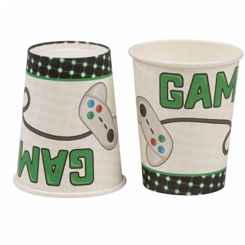 Vintage Video Game Party Dinnerware Bundle, Serves 24 Guests (144 Pieces) Perspective: right