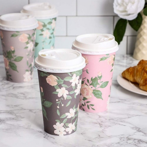 24 Pack Vintage Floral Paper Insulated Coffee Cups with Lids, 4 Designs, 16 Ounces Perspective: right