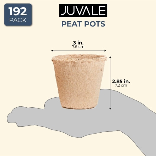 Juvale Peat Pots for Seedlings (192 Pack) Round, 3 Inches Perspective: right