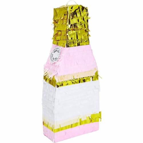 Champagne Bottle Party Pinata with Gold Foil (Pink, White, 16.5 x 7 x 3 Inches) Perspective: right