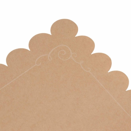 Juvale 100 Pack Disposable Placemats with Scallop Edge, Brown Kraft Paper (10 x 14 in) Perspective: right