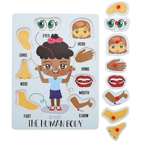 2-Pack Educational Wood Peg Puzzle, My Human Body, Inside and Outside Parts, 12 x 9 Inches Perspective: right