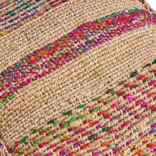Deborah Boho Hemp Silk and Cotton Ottoman Pouf Perspective: right