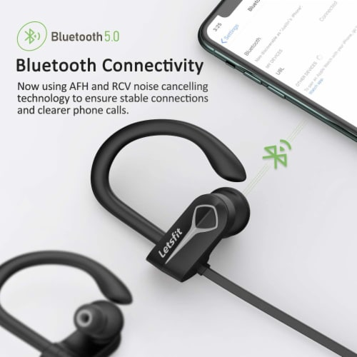 Letsfit U8L Bluetooth Headphones - Black/Gray Perspective: right