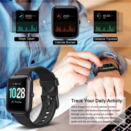 Letsfit ID205L Smartwatch Heart Rate & Activity Monitor - Black Perspective: right