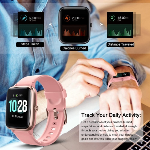 Letsfit ID205L Smartwatch Heart Rate & Activity Monitor - Pink Perspective: right