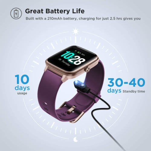 Letsfit ID205L Smartwatch Heart Rate & Activity Monitor - Purple Perspective: right