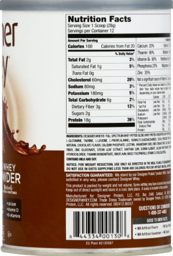 Designer Whey Chocolate Protein Powder Perspective: right