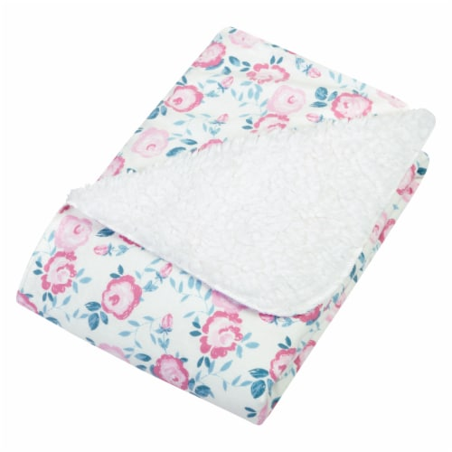 Trend Lab® Emma Floral Flannel and Faux Shearling Baby Blanket Perspective: right