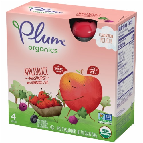 Plum Organics Mashups Strawberry and Beet Applesauce 4 Count Perspective: right