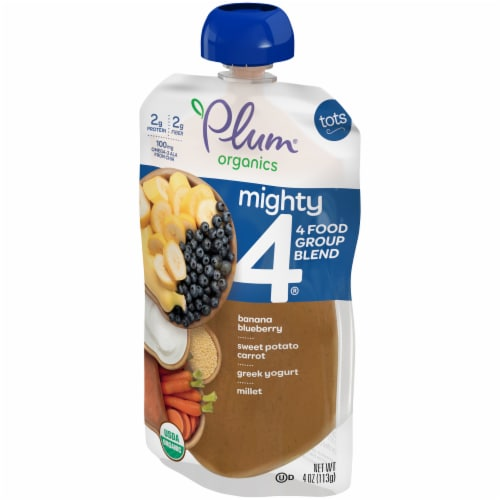 Plum Organics Mighty 4 Blueberry Sweet Potato Millet Tot Snack Perspective: right