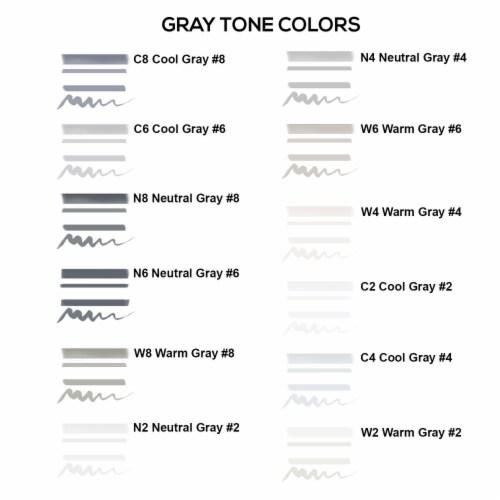 12 Color Gray Tones Dual Tip Set - Fine Bullet & Chisel Point Art Markers, Ergonomic Barrels Perspective: right