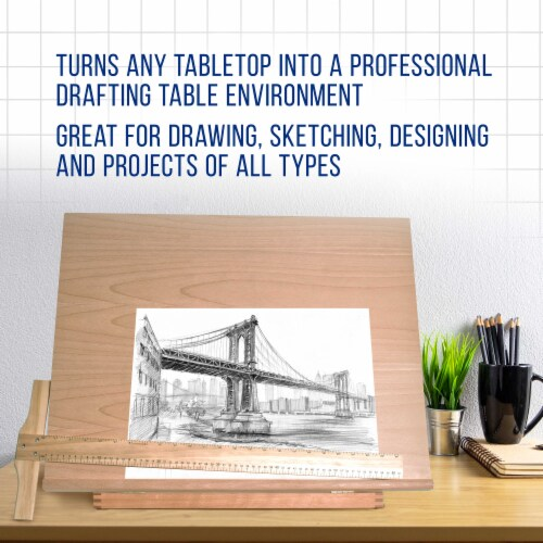 Extra Large Adjustable Wood Artist Drawing & Sketching Board 26  Wide x 21  Tall Perspective: right