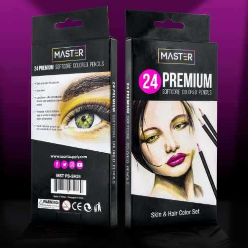 24 Colored Pencil Skin and Hair Tone Set - Ultra-Smooth Artist Quality, Vibrant Colors Perspective: right