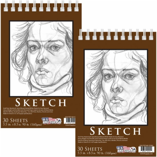 20-Piece Artist Sketch Set with Storage Case - Sketch & Charcoal Pencils, Stumps & Paper Pads Perspective: right