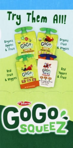 GoGo SqueeZ Apple Cherry & Gimme Five & Apple Pineapple Variety Pack Perspective: right