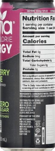 Zevia Zero Calorie Raspberry Lime Energy Drink Perspective: right