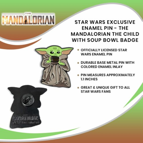 Star Wars Exclusive Enamel Pin Mandalorian The Child Baby Yoda With Soup Bowl Perspective: right