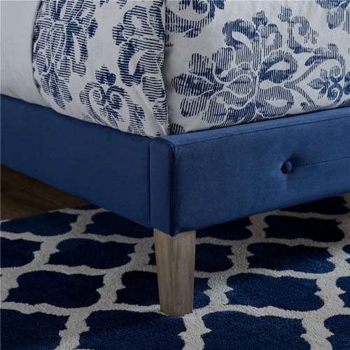 Classic Brands Seattle Tufted Platform Slat Bed Frame, Queen, Antonio Sapphire Perspective: right