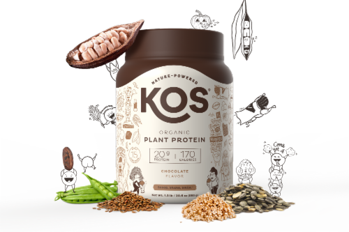 KOS Organic Chocolate Flavor Plant Protein Powder Perspective: right