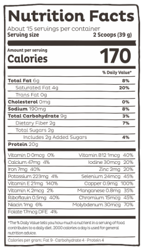 KOS Chocolate Chip Mint Flavor Plant Protein Powder Perspective: right