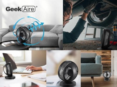 Geek Aire Smart Rechargeable Desktop Turbo Fan - Black Perspective: right