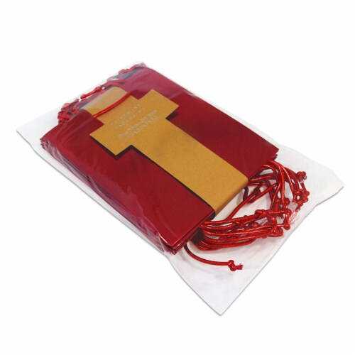 Red Foil Gift bags with Handles, Designer Solid Red Paper Gift Wrap Bags Perspective: right