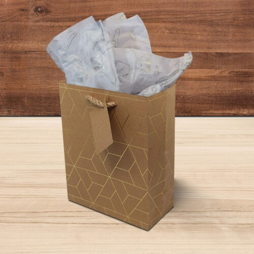 Designer Gift Bags with Handles, Gold Geometric Chevron, Stripe Prints with Jute Handles Perspective: right