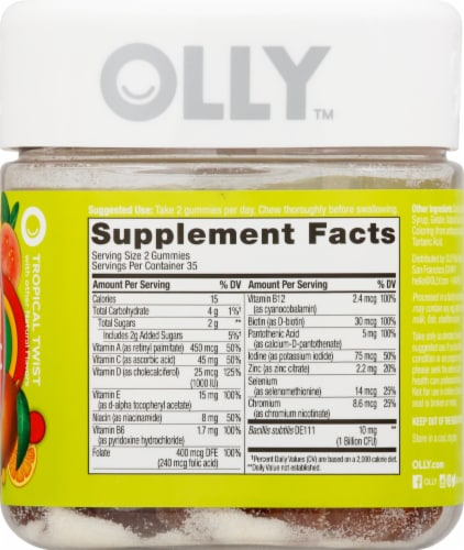 Olly Adult Multi + Probiotic Tropical Twist Gummies Perspective: right