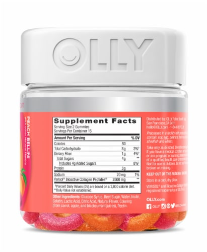 Olly Collagen Peach Gummy Rings Perspective: right