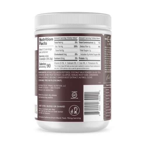 Primal Kitchen Chai Tea Collagen Keto Latte Collagen Peptide Drink Mix Perspective: right