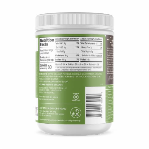 Primal Kitchen Matcha Collagen Keto Latte Collagen Peptide Drink Mix Perspective: right