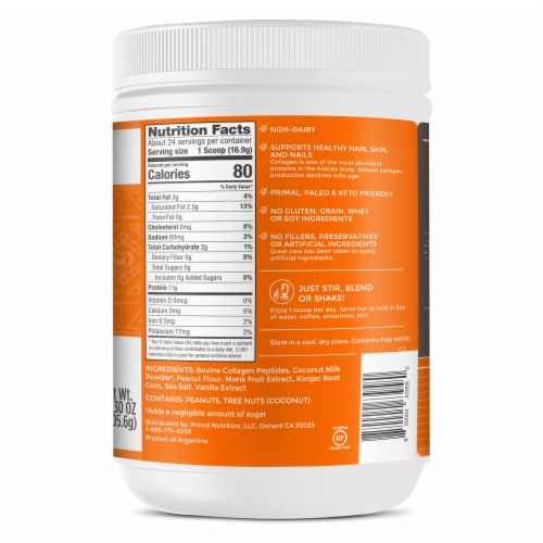 Primal Kitchen Collagen Fuel Peanut Butter Collagen Peptide Drink Mix Perspective: right