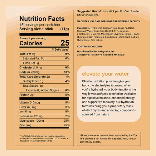 Beam Organics, Elevate Hydration Recovery, Fresh Lemon, 15 Single Serve Powder Packets Perspective: right