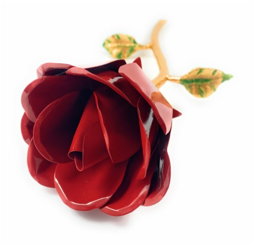 Vibhsa Handcrafted Metal Red Rose - Gold/Red Perspective: right