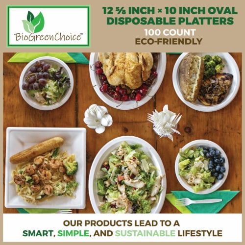 """12 5/8"""" x 10"""" Eco-Friendly Disposable Platter (100 Count) Perspective: right"""