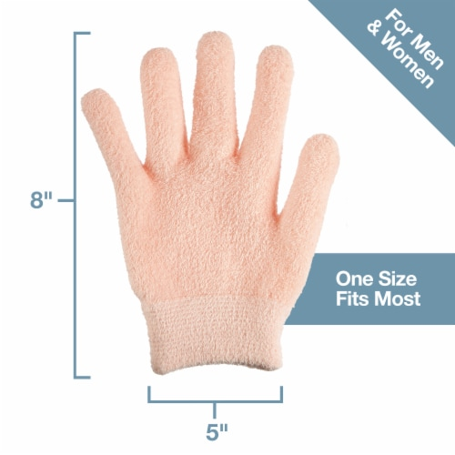 ZenToes Moisturizing Gloves - Dry, Cracked Skin Healing Treatment - 1 Pair (Fuzzy Peach) Perspective: right