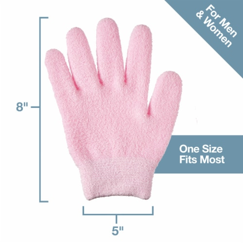 ZenToes Moisturizing Gloves - Dry, Cracked Skin Healing Treatment - 1 Pair (Fuzzy Pink) Perspective: right
