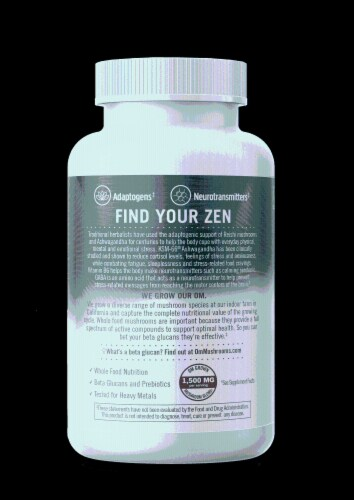 Om® Gently Zen Mushroom Superfood Daily Boost Vegetable Capsules Perspective: right