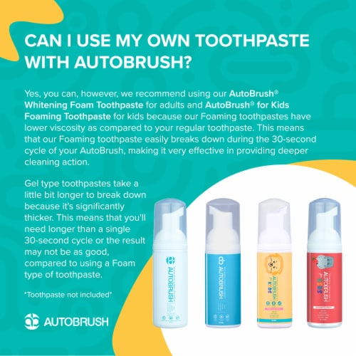 Autobrush for Kids Strawberry Foaming Toothpaste - 30 Day Supply (New 2020 Formula) Perspective: right