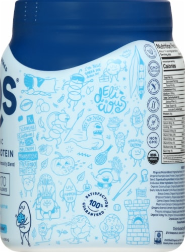 KOS® Organic Blueberry Muffin Blue Spirulina & Immunity Blend Plant Protein Powder Perspective: right