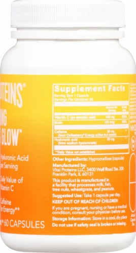 Vital Proteins Morning Get Up & Glow Supplement Capsules Perspective: right