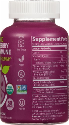 Fruily Organic Elderberry Kids Immune Gummies Perspective: right