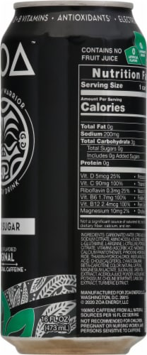 ZOA Zero Sugar Original Energy Drink Perspective: right
