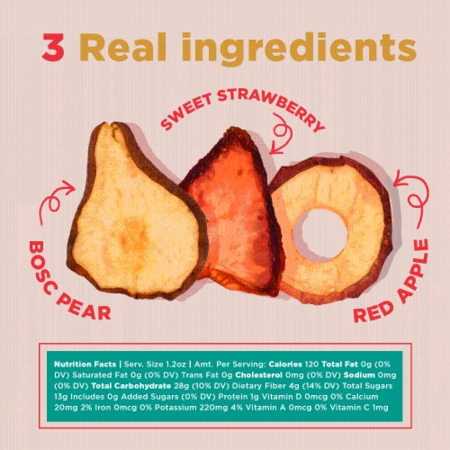 RIND Snacks Straw-Peary Dried Fruit Superfood - 3oz Bags, 3 Bags Total Perspective: right