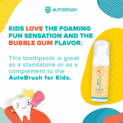 AutoBrush Foaming Kids Bubblegum Toothpaste - Fluoride-Free - New October 2020 Formula Perspective: right