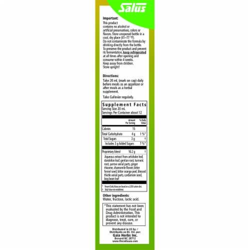 Floradix Gallexier Herbal Bitters Liquid Supplement Perspective: right