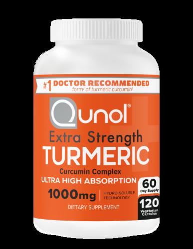 Qunol Turmeric Extra Strength Turmeric 1000mg Vegetarian Capsules Perspective: right