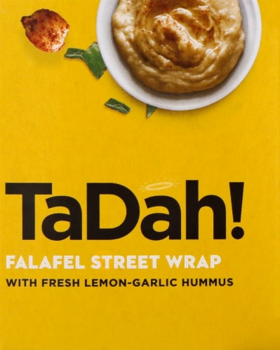 Tadah! Lemony Roasted Garlic Hummus Falafel Wrap Perspective: right
